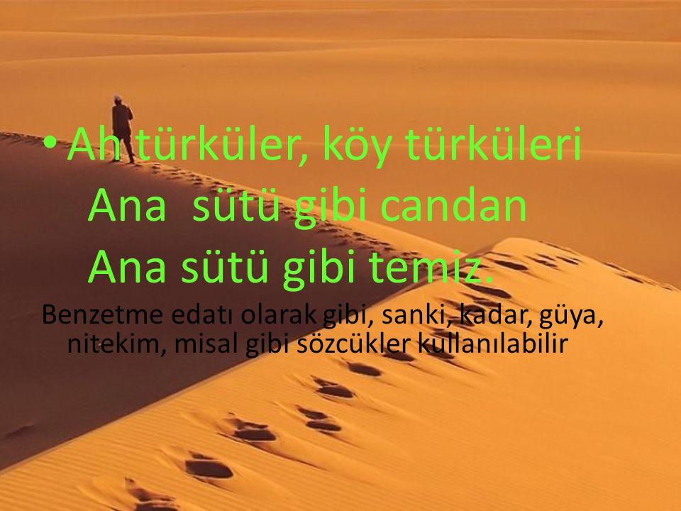 Ah türküler, köy türküleri Ana sütü gibi candan Ana sütü gibi temiz. Benzetme edatı olarak gibi, sanki, kadar, güya, nitekim, misal gibi sözcükler kul