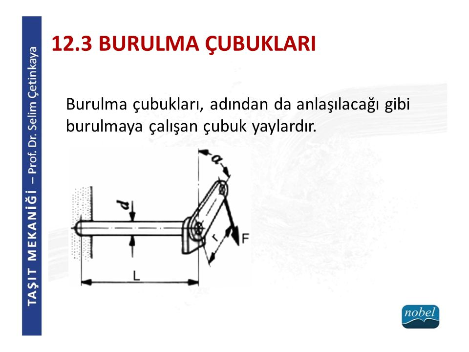 12.3 BURULMA ÇUBUKLARI Burulma çubukları, adından da anlaşılacağı gibi burulmaya çalışan çubuk yaylardır.