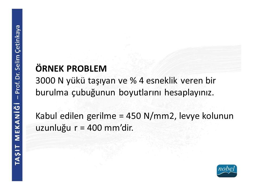 ÖRNEK PROBLEM 3000 N yükü taşıyan ve % 4 esneklik veren bir burulma çubuğunun boyutlarını hesaplayınız.