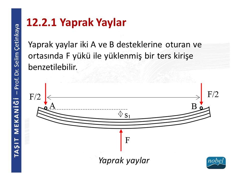 12.2.1 Yaprak Yaylar Yaprak yaylar iki A ve B desteklerine oturan ve ortasında F yükü ile yüklenmiş bir ters kirişe benzetilebilir.