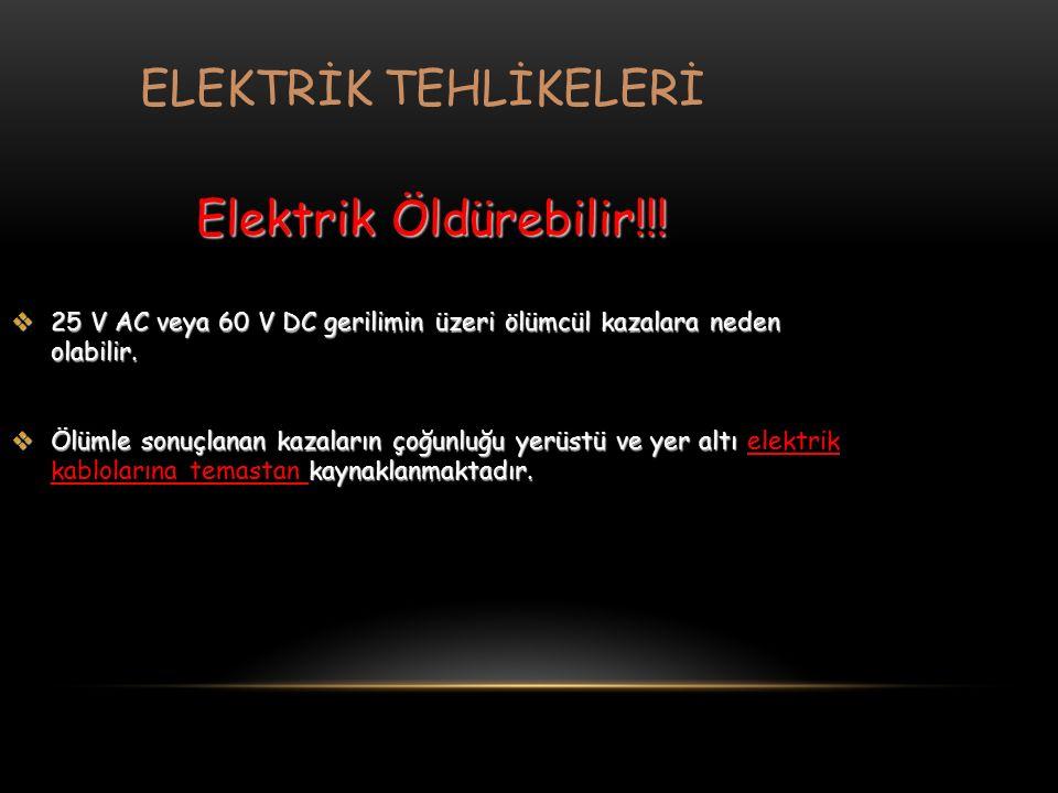 Elektrik Öldürebilir!!!  25 V AC veya 60 V DC gerilimin üzeri ölümcül kazalara neden olabilir.  Ölümle sonuçlanan kazaların çoğunluğu yerüstü ve yer
