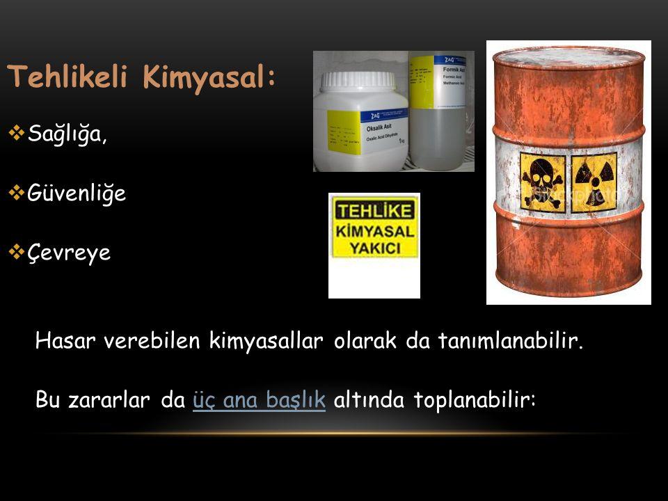 Tehlikeli Kimyasal:  Sağlığa,  Güvenliğe  Çevreye Hasar verebilen kimyasallar olarak da tanımlanabilir. Bu zararlar da üç ana başlık altında toplan