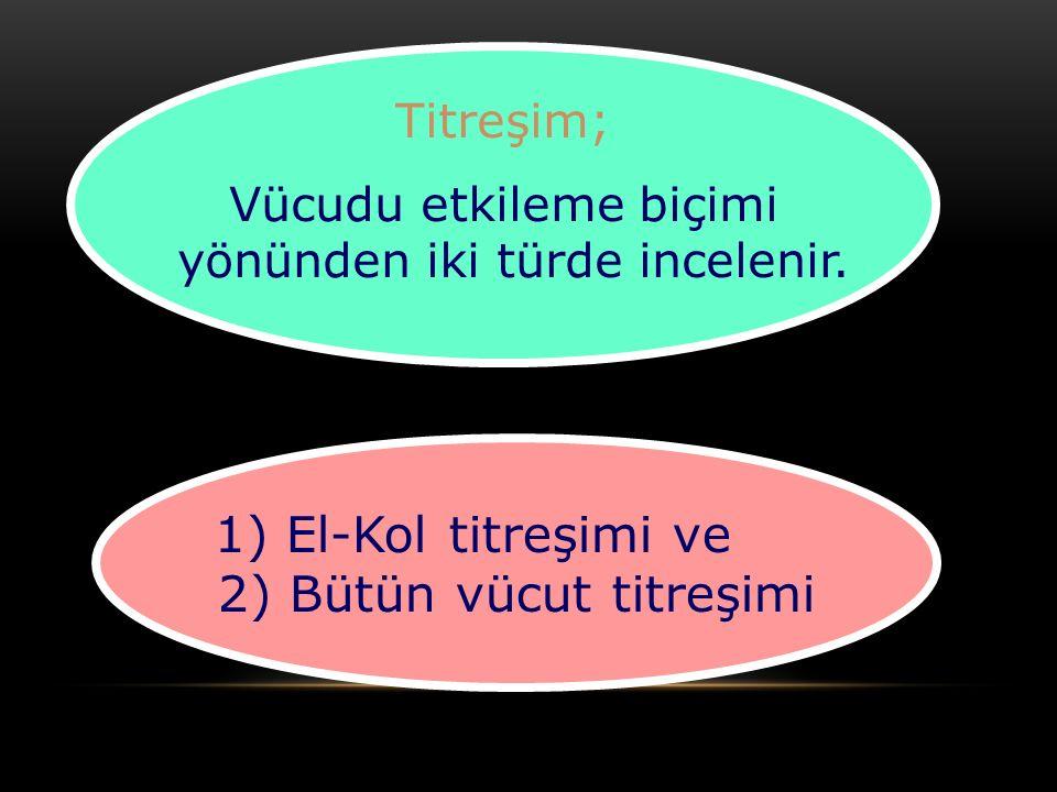 Titreşim; Vücudu etkileme biçimi yönünden iki türde incelenir. 1) El-Kol titreşimi ve 2) Bütün vücut titreşimi