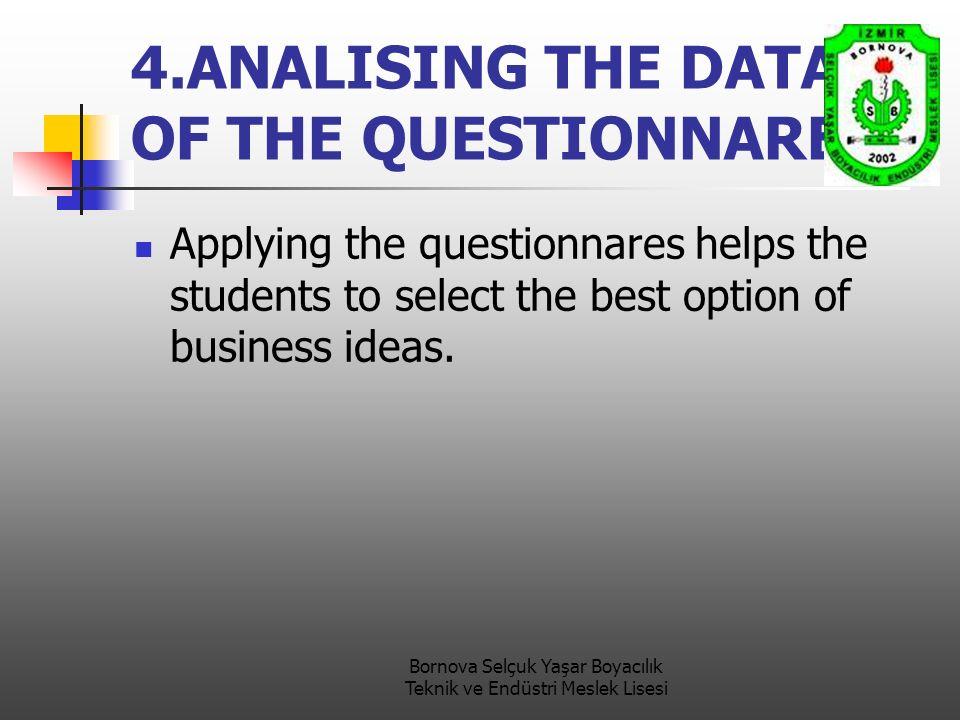 Bornova Selçuk Yaşar Boyacılık Teknik ve Endüstri Meslek Lisesi 4.ANALISING THE DATA OF THE QUESTIONNARES Applying the questionnares helps the students to select the best option of business ideas.