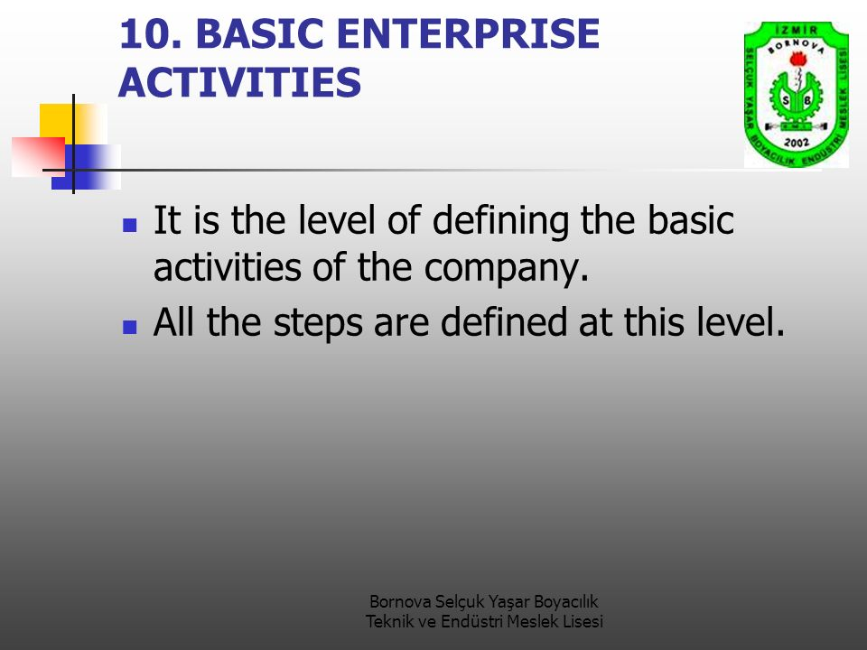 10. BASIC ENTERPRISE ACTIVITIES It is the level of defining the basic activities of the company. All the steps are defined at this level.