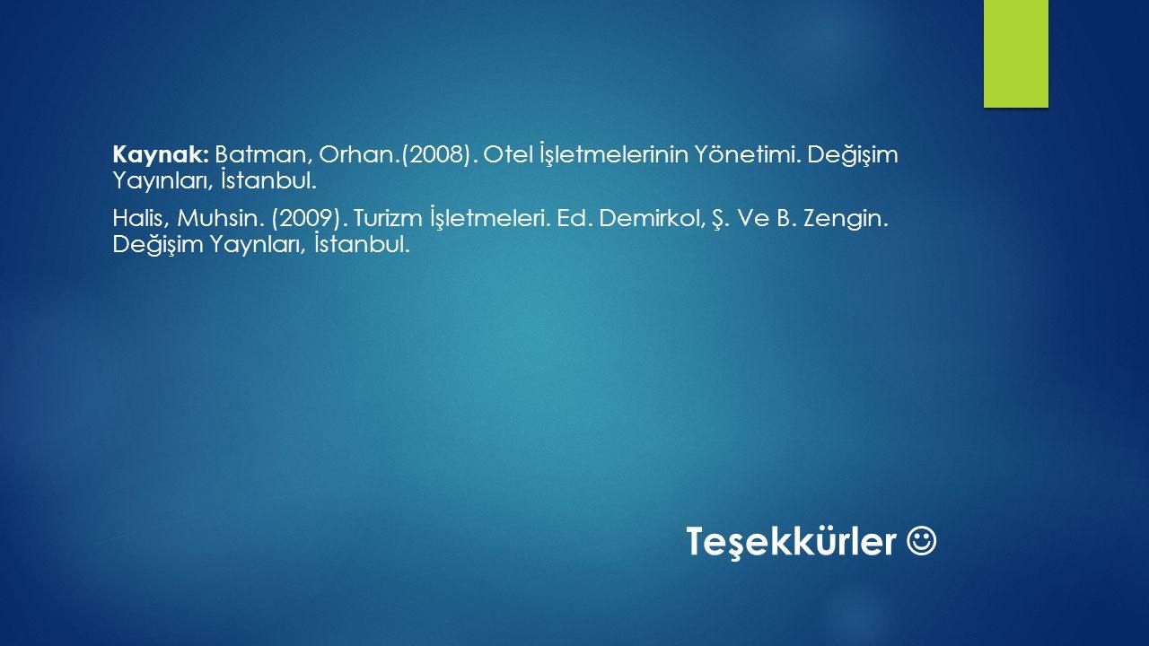 Kaynak: Batman, Orhan.(2008). Otel İşletmelerinin Yönetimi. Değişim Yayınları, İstanbul. Halis, Muhsin. (2009). Turizm İşletmeleri. Ed. Demirkol, Ş. V