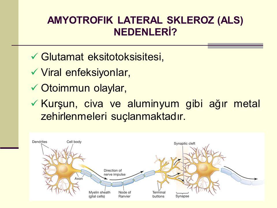 AMYOTROFIK LATERAL SKLEROZ (ALS) NEDENLERİ? Glutamat eksitotoksisitesi, Viral enfeksiyonlar, Otoimmun olaylar, Kurşun, civa ve aluminyum gibi ağır met