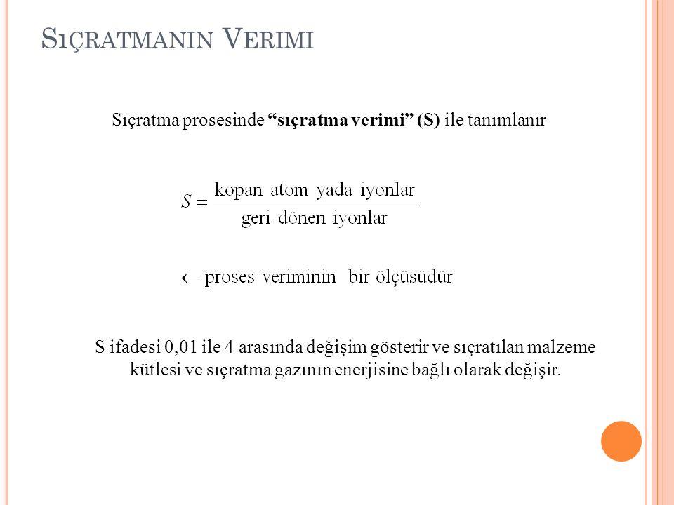 """S ı ÇRATMANIN V ERIMI Sıçratma prosesinde """"sıçratma verimi"""" (S) ile tanımlanır S ifadesi 0,01 ile 4 arasında değişim gösterir ve sıçratılan malzeme kü"""