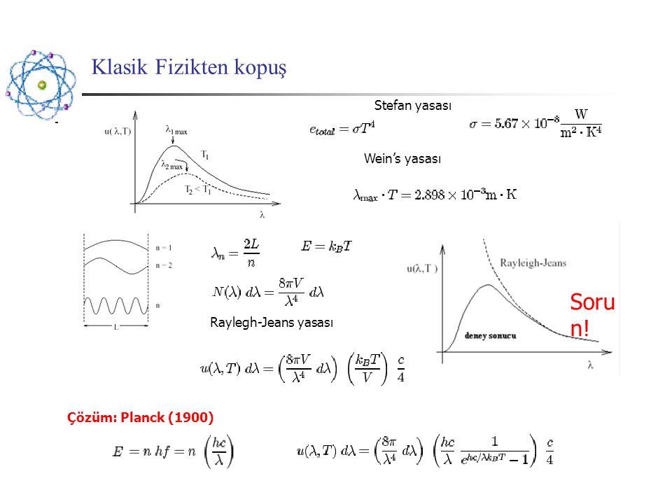 19. Yy sonu Soru: atomik spektra neden kuantize ?