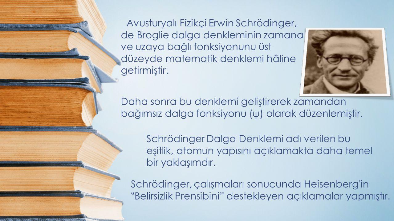 Avusturyalı Fizikçi Erwin Schrödinger, de Broglie dalga denkleminin zamana ve uzaya bağlı fonksiyonunu üst düzeyde matematik denklemi hâline getirmişt