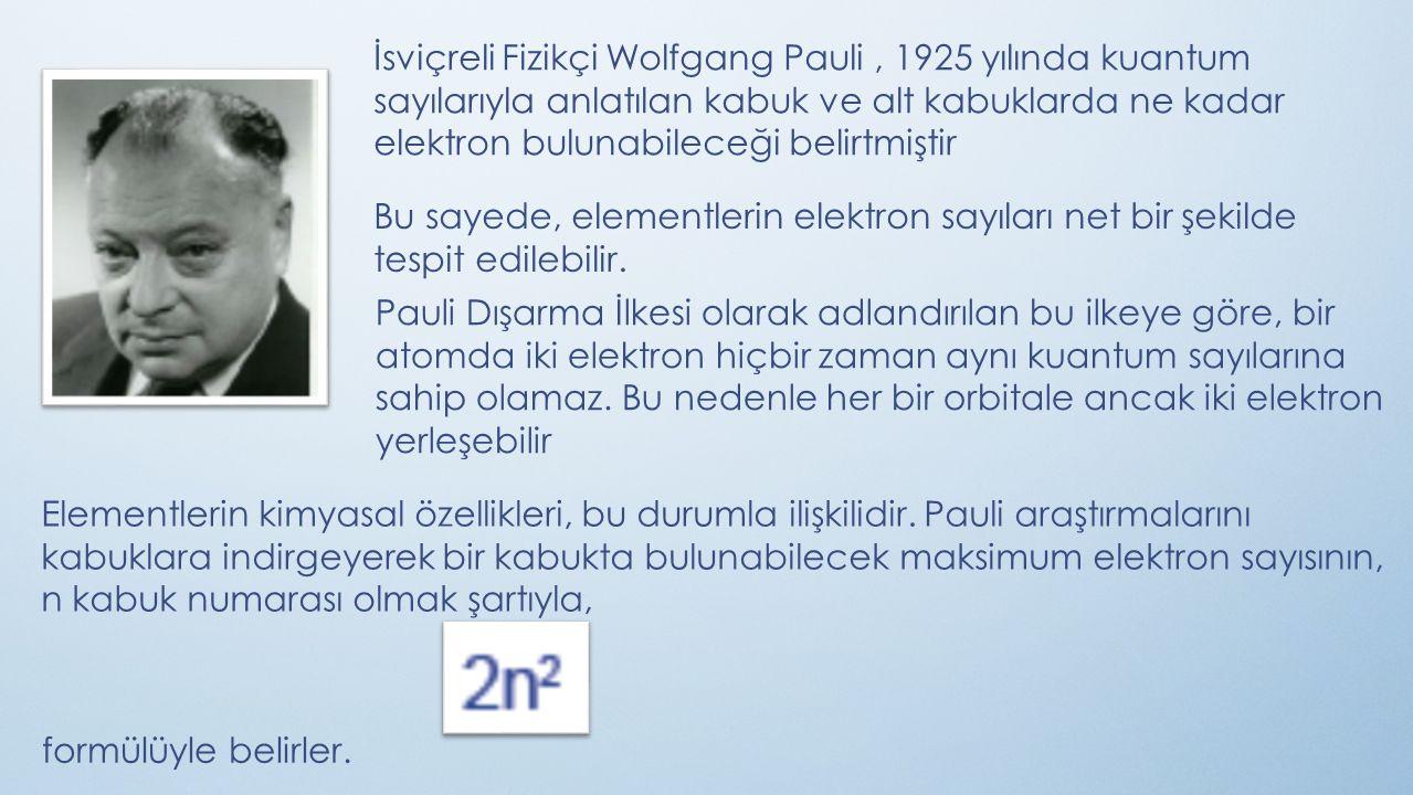 İsviçreli Fizikçi Wolfgang Pauli, 1925 yılında kuantum sayılarıyla anlatılan kabuk ve alt kabuklarda ne kadar elektron bulunabileceği belirtmiştir Bu