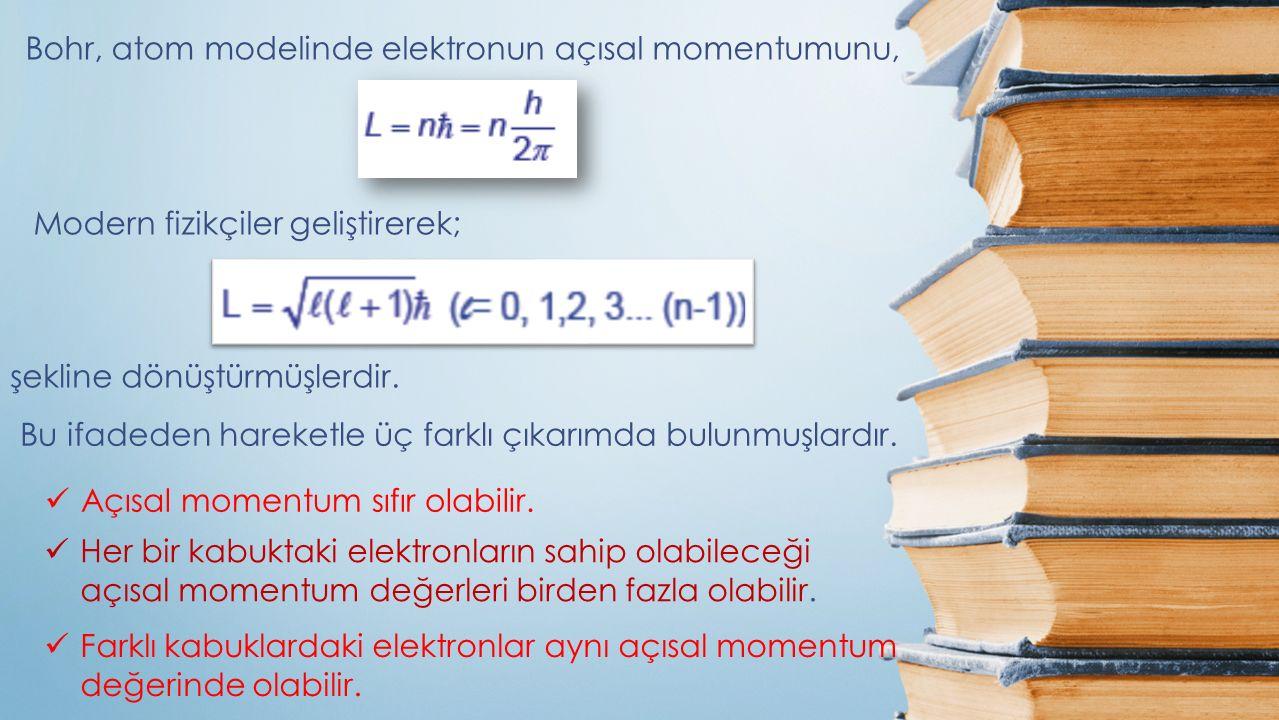 Bohr, atom modelinde elektronun açısal momentumunu, Modern fizikçiler geliştirerek; şekline dönüştürmüşlerdir. Bu ifadeden hareketle üç farklı çıkarım