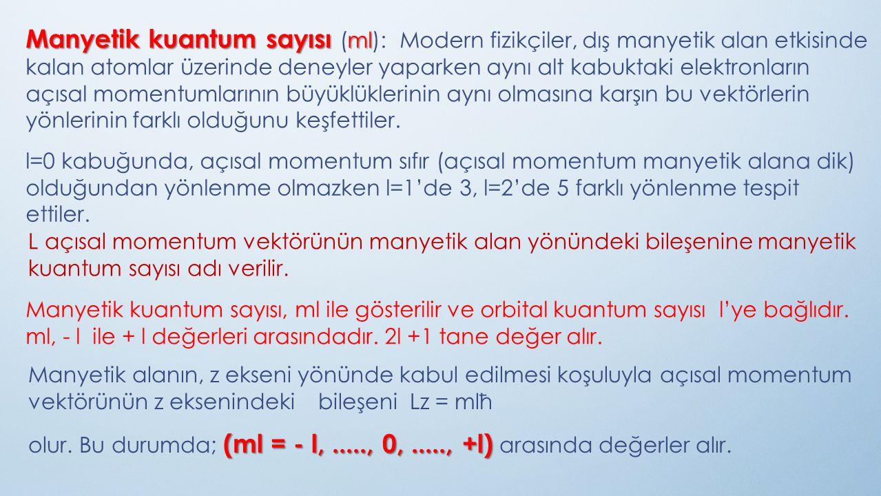 Orbital kuantum sayısıyla manyetik kuantum sayısı arasındaki ilişkiyi ml 'nin 2l+1 adet değer aldığı ifadesiyle açıklayacak olursak; l = 0 için ml = 0 (1 tane s orbitali), l = 1 için ml = -1, 0, +1 (3 tane p orbitali), l = 2 için ml = -2, -1, 0, +1, +2 (5 tane d orbitali), l = 3 için ml = -3, -2, -1, 0, +1, +2, +3 (7 tane f orbitali) şeklindedir.