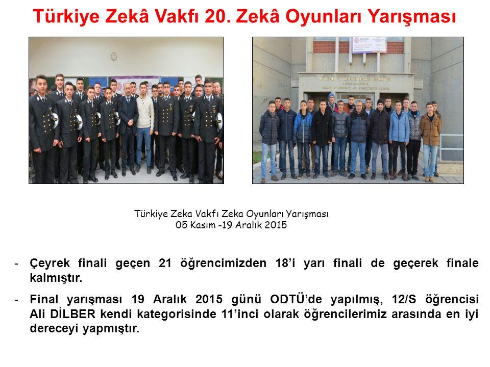 -Çeyrek finali geçen 21 öğrencimizden 18'i yarı finali de geçerek finale kalmıştır.