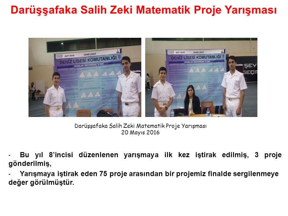 - Bu yıl 8'incisi düzenlenen yarışmaya ilk kez iştirak edilmiş, 3 proje gönderilmiş, - Yarışmaya iştirak eden 75 proje arasından bir projemiz finalde sergilenmeye değer görülmüştür.