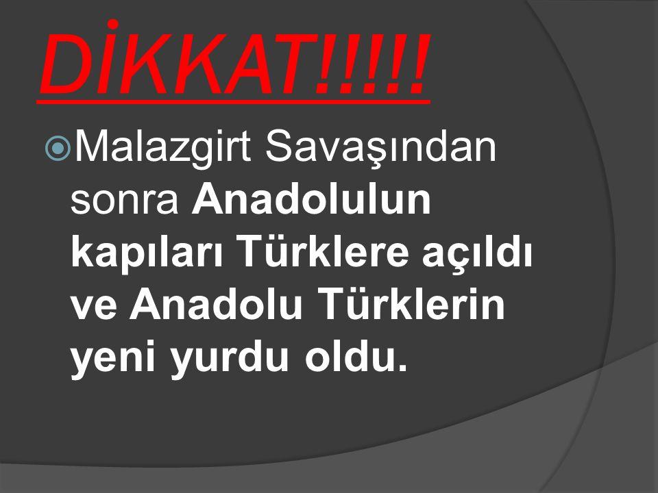 DİKKAT!!!!!  Malazgirt Savaşından sonra Anadolulun kapıları Türklere açıldı ve Anadolu Türklerin yeni yurdu oldu.