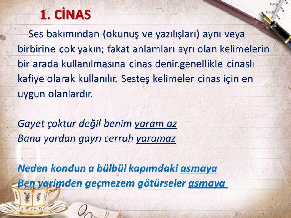 1. CİNAS 1. CİNAS Ses bakımından (okunuş ve yazılışları) aynı veya birbirine çok yakın; fakat anlamları ayrı olan kelimelerin bir arada kullanılmasına