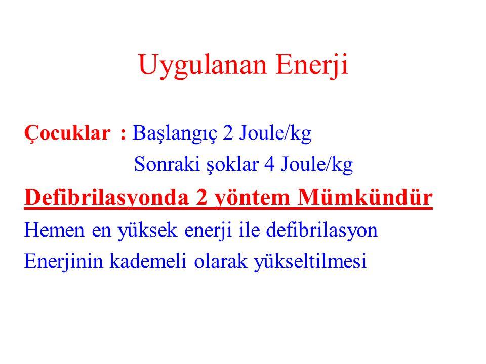 Uygulanan Enerji Çocuklar: Başlangıç 2 Joule/kg Sonraki şoklar 4 Joule/kg Defibrilasyonda 2 yöntem Mümkündür Hemen en yüksek enerji ile defibrilasyon Enerjinin kademeli olarak yükseltilmesi