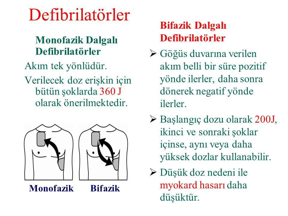 Defibrilatörler Monofazik Dalgalı Defibrilatörler Akım tek yönlüdür.