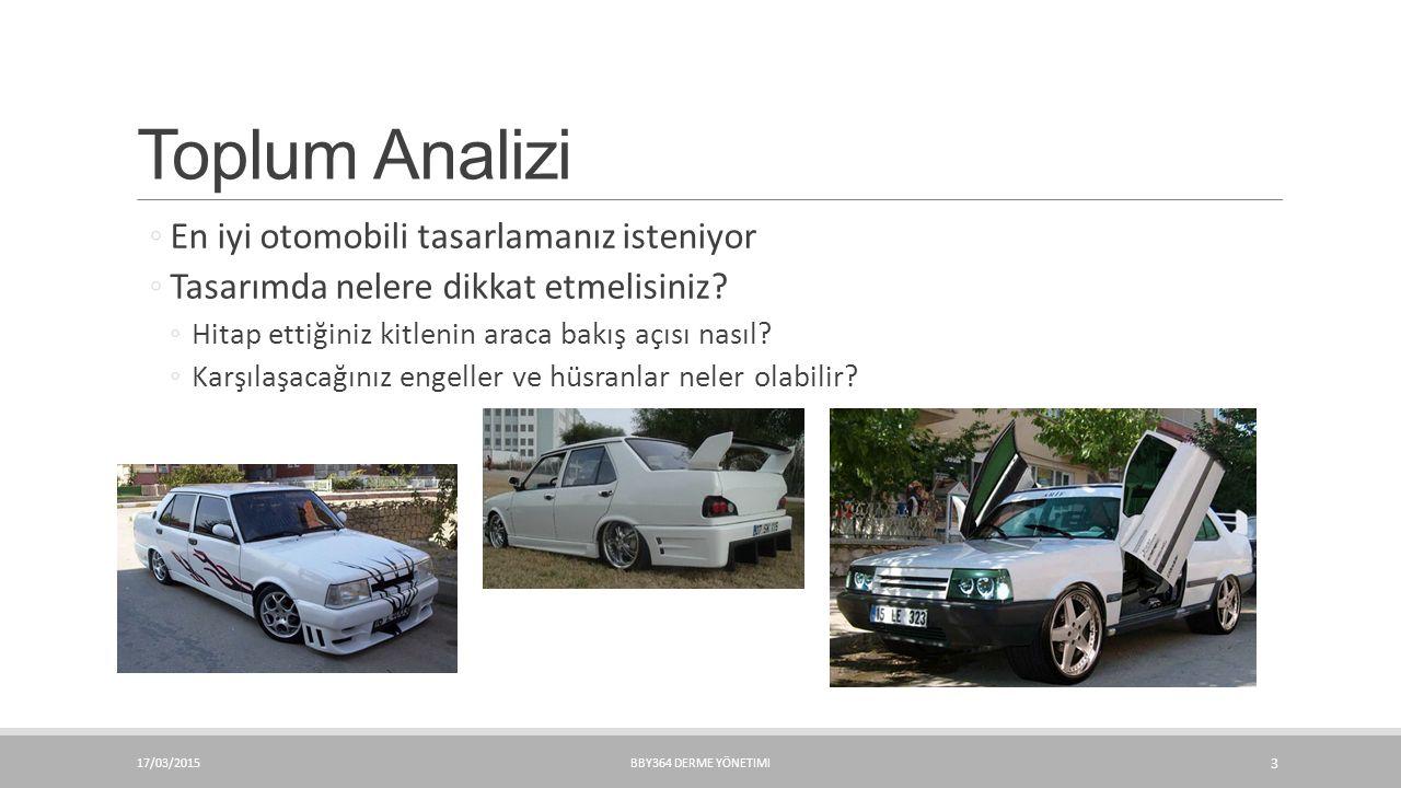 Toplum Analizi ◦En iyi otomobili tasarlamanız isteniyor ◦Tasarımda nelere dikkat etmelisiniz? ◦Hitap ettiğiniz kitlenin araca bakış açısı nasıl? ◦Karş