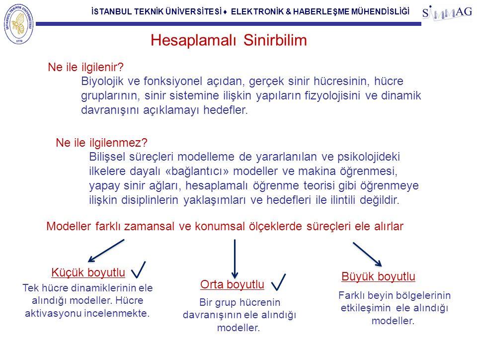 İSTANBUL TEKNİK ÜNİVERSİTESİ ♦ ELEKTRONİK & HABERLEŞME MÜHENDİSLİĞİ Hesaplamalı Sinirbilim Modeller farklı zamansal ve konumsal ölçeklerde süreçleri e