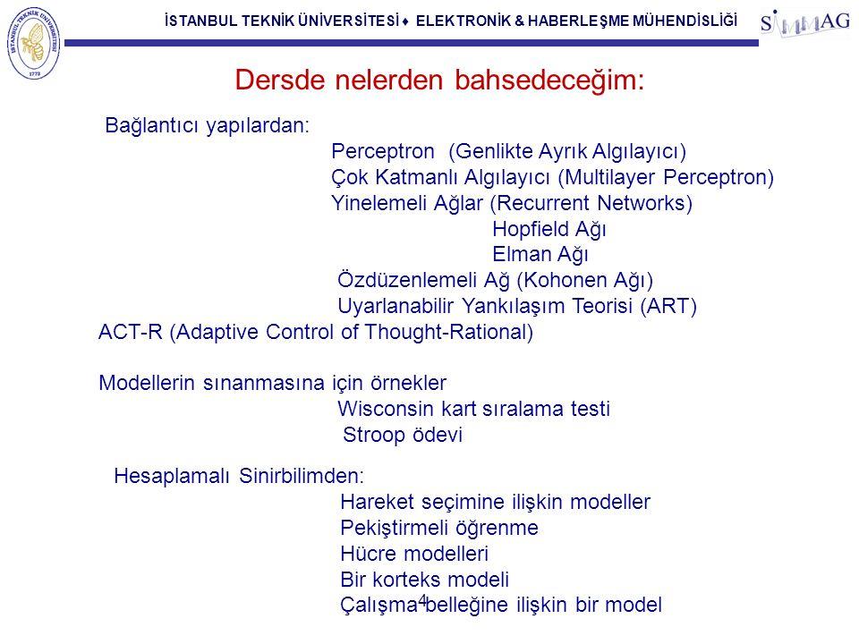 İSTANBUL TEKNİK ÜNİVERSİTESİ ♦ ELEKTRONİK & HABERLEŞME MÜHENDİSLİĞİ Yapay Sinir Ağları (Artificial Neural Networks) Bir Yapay Sinir Ağı Tanımı (Alexander, Morton 1990) Yapay sinir ağı, basit işlemci ünitelerinden oluşmuş, çok yoğun, parallel ve dağılmış düzende çalışan bir işlemcidir.