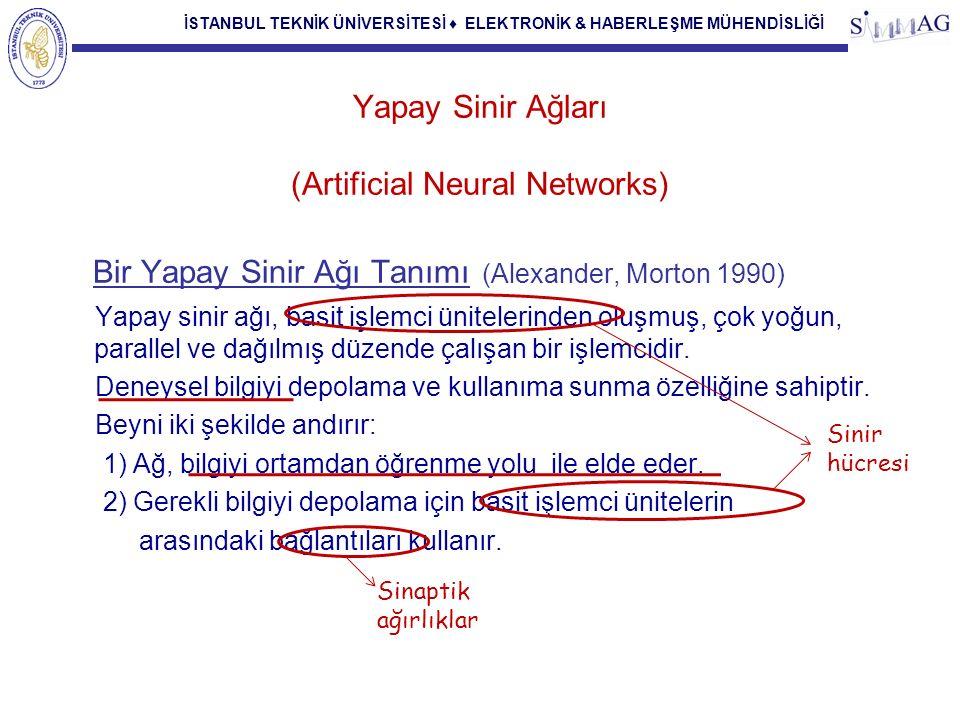 İSTANBUL TEKNİK ÜNİVERSİTESİ ♦ ELEKTRONİK & HABERLEŞME MÜHENDİSLİĞİ Yapay Sinir Ağları (Artificial Neural Networks) Bir Yapay Sinir Ağı Tanımı (Alexan