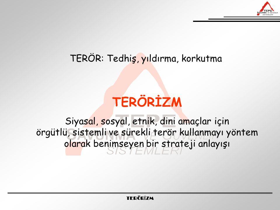 TERÖR İ ZM Terörizm, özellikle 2.Dünya Savaşı'ndan sonra şekillenen dünya ülkelerinin hudutlarını ve yönetim biçimlerini değiştirebilecek güçte değildir.