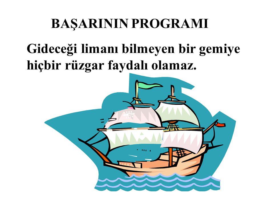 BAŞARININ PROGRAMI Gideceği limanı bilmeyen bir gemiye hiçbir rüzgar faydalı olamaz.
