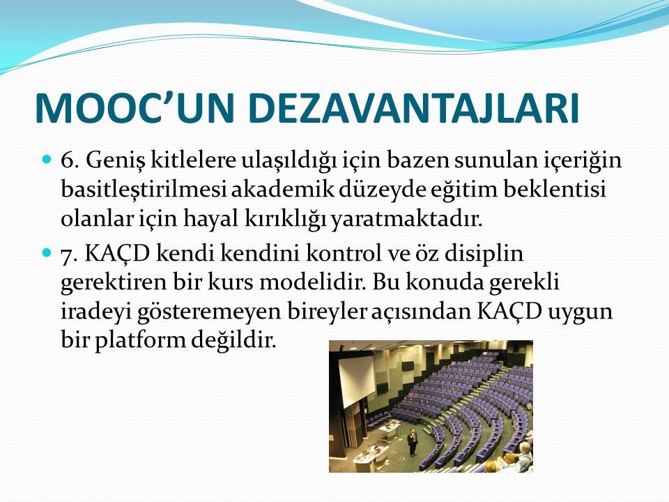 MOOC'UN DEZAVANTAJLARI 6.