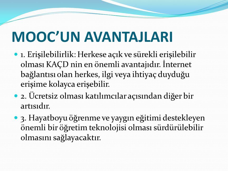 MOOC'UN AVANTAJLARI 4.