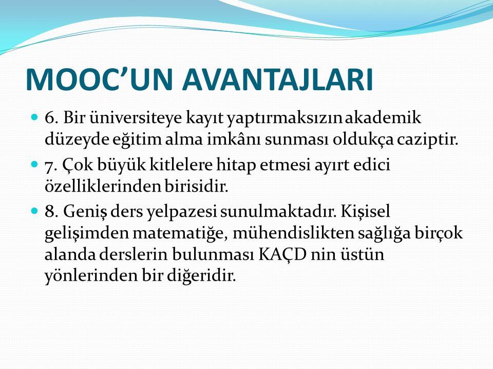 MOOC'UN DEZAVANTAJLARI 1.