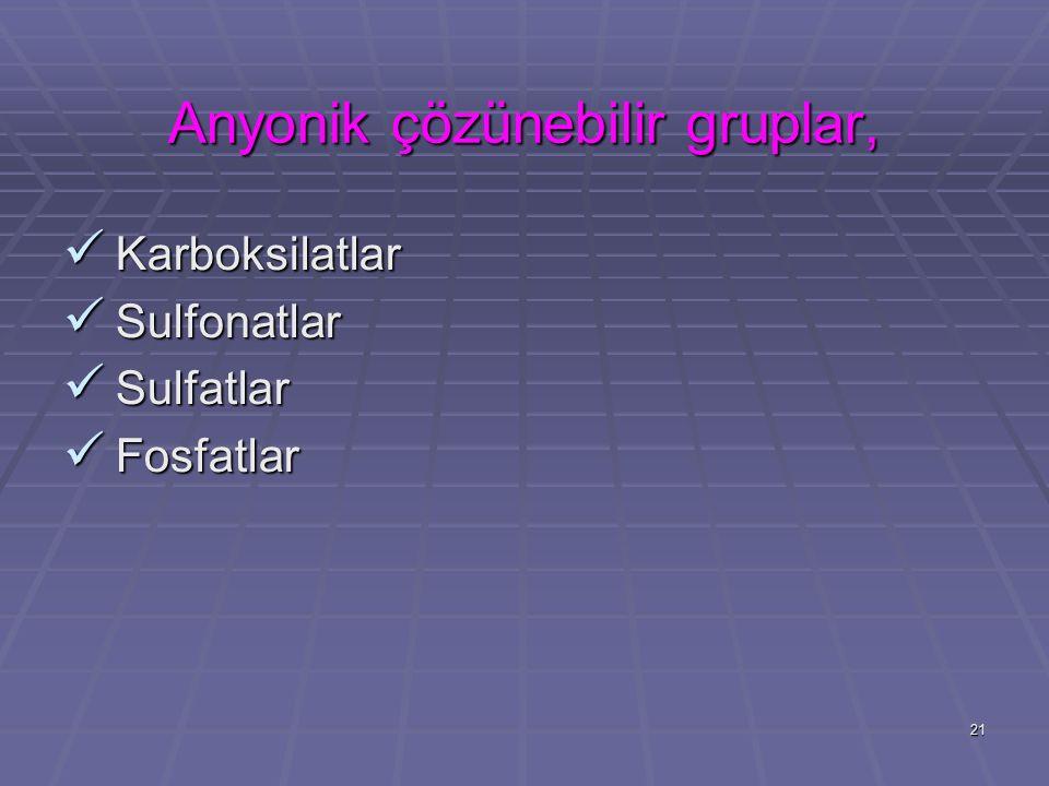 21 Anyonik çözünebilir gruplar, Karboksilatlar Karboksilatlar Sulfonatlar Sulfonatlar Sulfatlar Sulfatlar Fosfatlar Fosfatlar