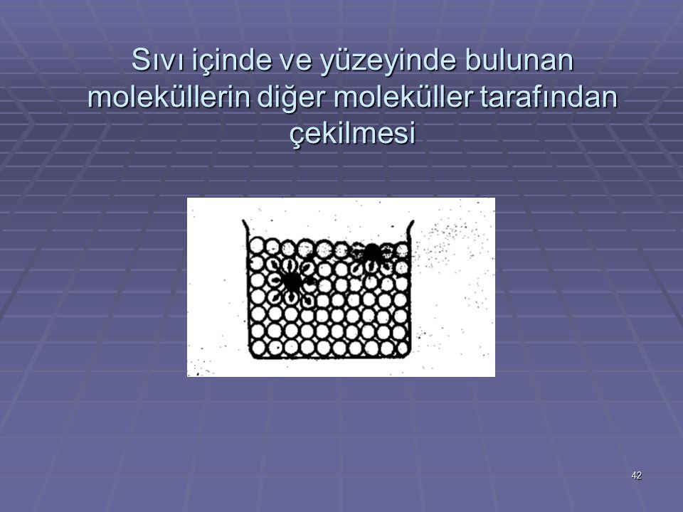 42 Sıvı içinde ve yüzeyinde bulunan moleküllerin diğer moleküller tarafından çekilmesi