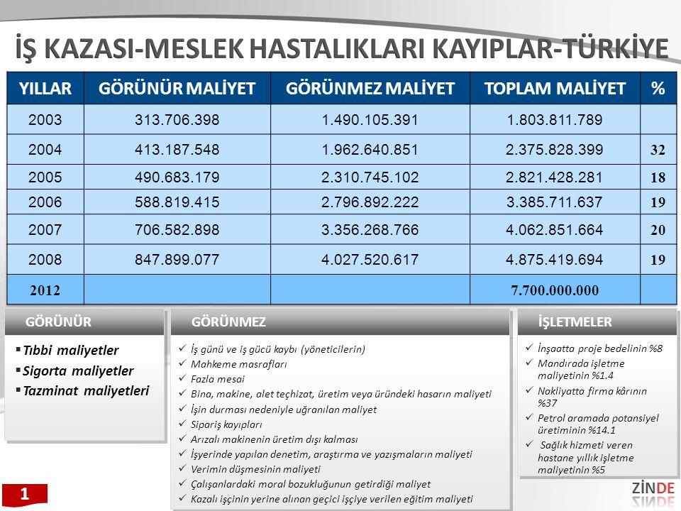 Çalışan Sayısıİşyeri SayısıSigortalı SayısıOran Kaza (2010) 1-491.016.6174.694.82560,0%58 50-29917.7451.916.86824,5 300-1.0001.759850.36210,9 >1.000207356.5874,6 Toplam1.036.3287.818.642100 1