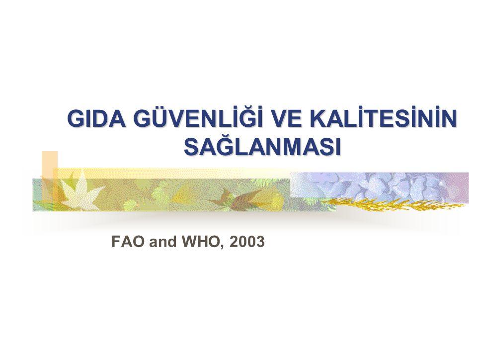 GIDA GÜVENLİĞİ VE KALİTESİNİN SAĞLANMASI FAO and WHO, 2003
