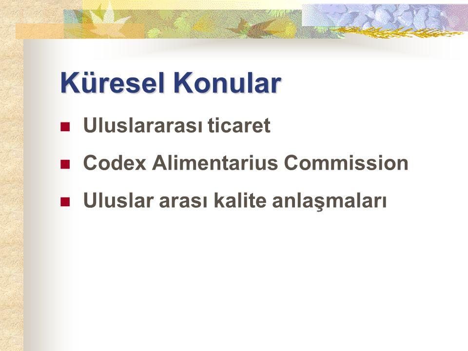 Küresel Konular Uluslararası ticaret Codex Alimentarius Commission Uluslar arası kalite anlaşmaları