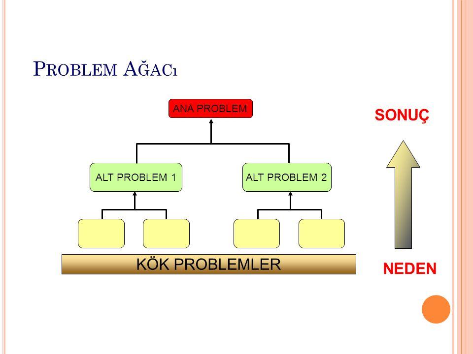 NEDEN SONUÇ ANA PROBLEM ALT PROBLEM 1 ALT PROBLEM 2 KÖK PROBLEMLER P ROBLEM A ĞACı