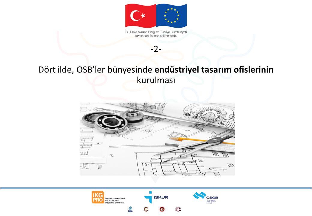 -2- Dört ilde, OSB'ler bünyesinde endüstriyel tasarım ofislerinin kurulması