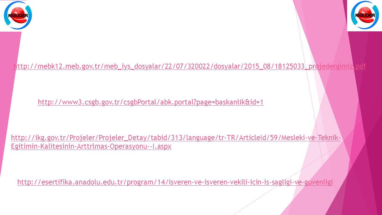 http://mebk12.meb.gov.tr/meb_iys_dosyalar/22/07/320022/dosyalar/2015_08/18125033_projedergimiz.pdf http://www3.csgb.gov.tr/csgbPortal/abk.portal page=baskanlik&id=1 http://ikg.gov.tr/Projeler/Projeler_Detay/tabid/313/language/tr-TR/ArticleId/59/Mesleki-ve-Teknik- Egitimin-Kalitesinin-Arttrlmas-Operasyonu--I.aspx http://esertifika.anadolu.edu.tr/program/14/isveren-ve-isveren-vekili-icin-is-sagligi-ve-guvenligi