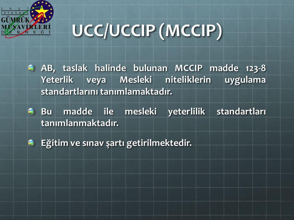 UCC/UCCIP (MCCIP) AB, taslak halinde bulunan MCCIP madde 123-8 Yeterlik veya Mesleki niteliklerin uygulama standartlarını tanımlamaktadır.