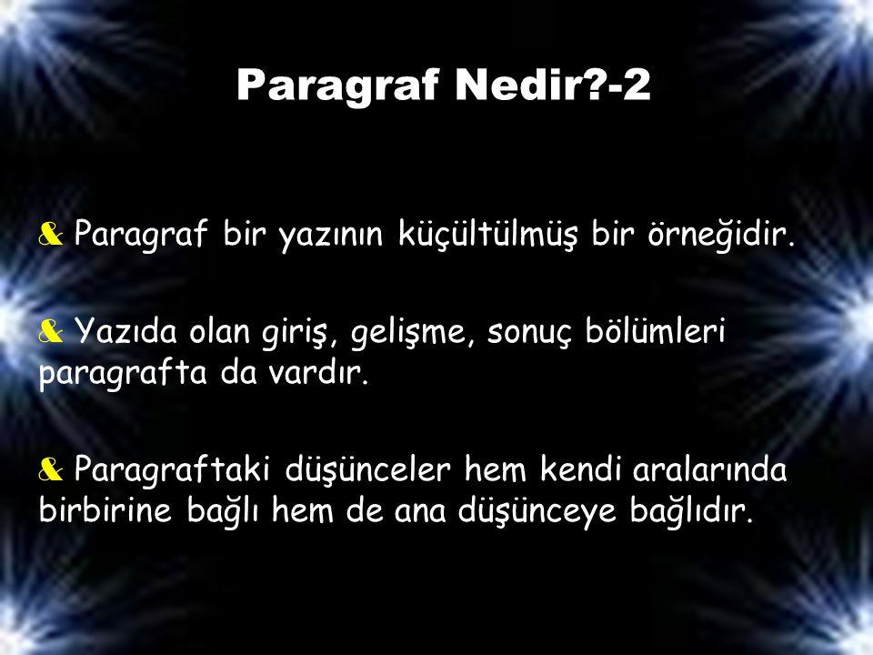 Paragraf Nedir -2 & Paragraf bir yazının küçültülmüş bir örneğidir.