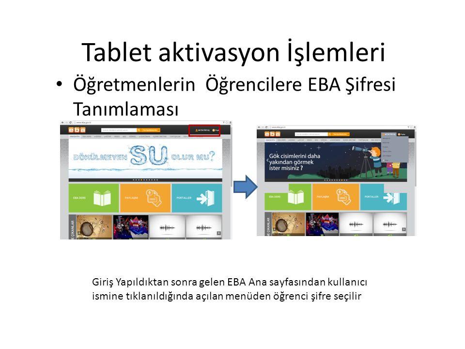 Giriş Yapıldıktan sonra gelen EBA Ana sayfasından kullanıcı ismine tıklanıldığında açılan menüden öğrenci şifre seçilir Tablet aktivasyon İşlemleri Öğretmenlerin Öğrencilere EBA Şifresi Tanımlaması