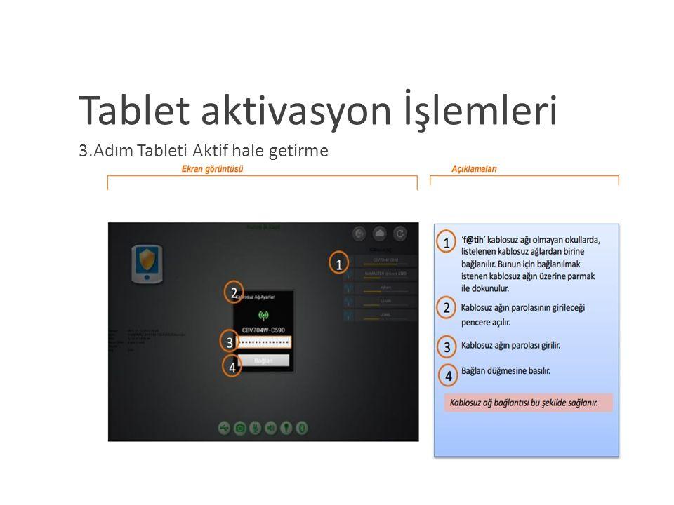 Tablet aktivasyon İşlemleri 3.Adım Tableti Aktif hale getirme
