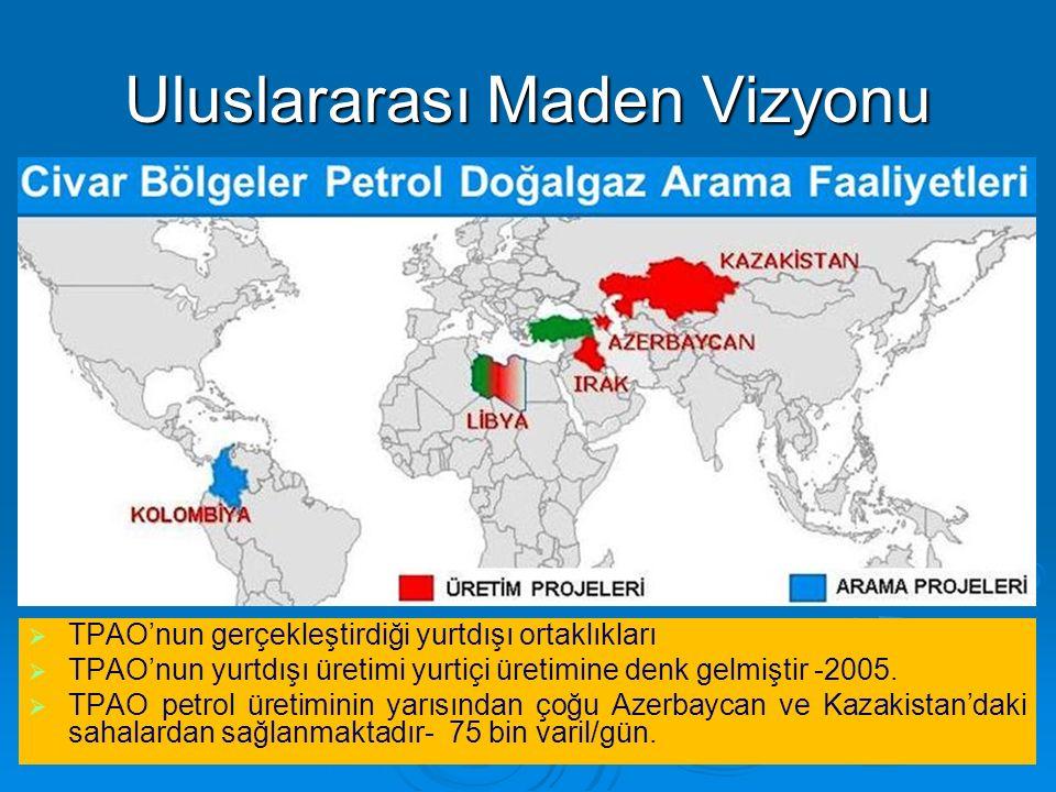 Uluslararası Maden Vizyonu   TPAO'nun gerçekleştirdiği yurtdışı ortaklıkları   TPAO'nun yurtdışı üretimi yurtiçi üretimine denk gelmiştir -2005. 