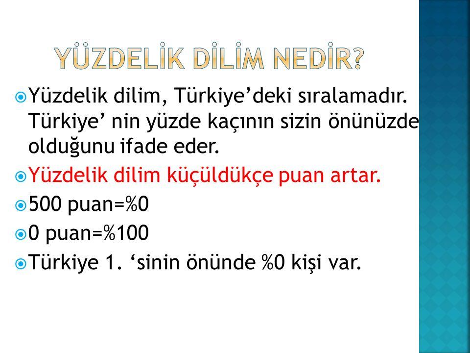  Yüzdelik dilim, Türkiye'deki sıralamadır.