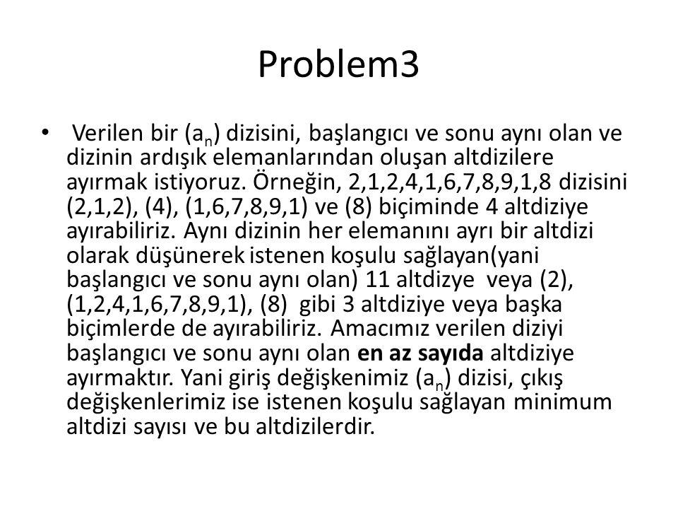 Problem3 Verilen bir (a n ) dizisini, başlangıcı ve sonu aynı olan ve dizinin ardışık elemanlarından oluşan altdizilere ayırmak istiyoruz. Örneğin, 2,