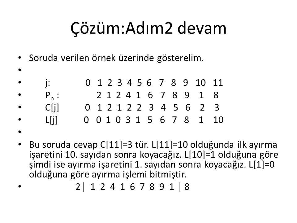 Çözüm:Adım2 devam Soruda verilen örnek üzerinde gösterelim. j: 0 1 2 3 4 5 6 7 8 9 10 11 P n : 2 1 2 4 1 6 7 8 9 1 8 C[j] 0 1 2 1 2 2 3 4 5 6 2 3 L[j]