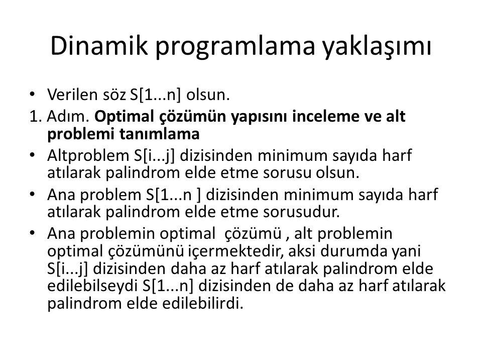 Dinamik programlama yaklaşımı Verilen söz S[1...n] olsun. 1. Adım. Optimal çözümün yapısını inceleme ve alt problemi tanımlama Altproblem S[i...j] diz