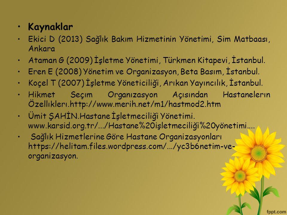 Kaynaklar Ekici D (2013) Sağlık Bakım Hizmetinin Yönetimi, Sim Matbaası, Ankara Ataman G (2009) İşletme Yönetimi, Türkmen Kitapevi, İstanbul. Eren E (